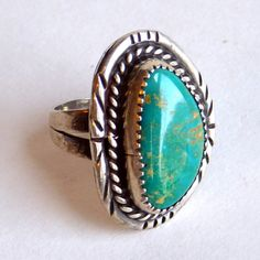Vintage Navajo Sterling Silver and Turquoise Ring  Native