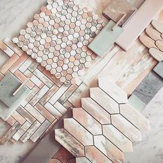 Loved the pink master bathroom reveal by on the this week? Have some pink tile inspiration from 👊 Green Marble, Pink Marble, Marble Mosaic, Mosaic Tiles, Cement Tiles, Wall Tiles, Pink Tiles, White Tiles, Tile Design