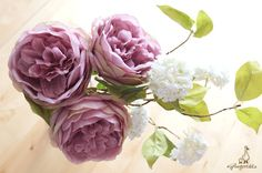 """Light Mauve Purple and Green Cabbage Rose Each stem measures approx. 12"""" in length. Flower measures approx. 3 1/2"""" in width. The listing is for ONE stem. Available in two colors:  1. Blush Pink and Green 2. Light Mauve Purple and Green  ** This rose can be ordered WITH or WITHOUT the stem.  {Perfect for} - bridal bouquet, corsage, boutonniere, headpiece and wedding crown - gift packaging - wedding, anniversary, birthday, party and holiday decorating  Handpicked by Gingertails from Hong K..."""
