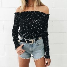 Top| Blouse| Black| White| Polka dot| Off shoulder| Long sleeve| Tucked in| Belt| Buckle| Accent| Silver| Shorts| Short| Washed out| Faded| Leg| High waisted| Necklace| Layered| Summer| Spring| P350