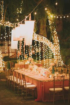 #Outdoor Wedding Reception | Romantic Al Fresco Lighting | See the wedding on SMP: http://www.stylemepretty.com/2013/04/26/la-quinta-wedding-from-fondly-forever-photography/ Fondly Forever Photography