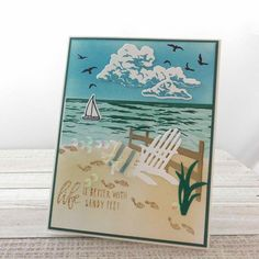 Spellbinders Cards, Stampin Up Cards, Wetlands Stampin Up, 3d Cards, Birthday Cards For Boys, Masculine Birthday Cards, Boy Birthday, Handmade Greeting Card Designs, Beach Scenes