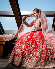 26 Best ideas for indian bridal lehenga red beautiful colour Indian Bridal Outfits, Indian Bridal Lehenga, Indian Bridal Fashion, Indian Bridal Wear, Sabyasachi Lehenga Bridal, Bridal Lehnga Red, Bridal Dresses, Pakistani Bridal, Indian Dresses