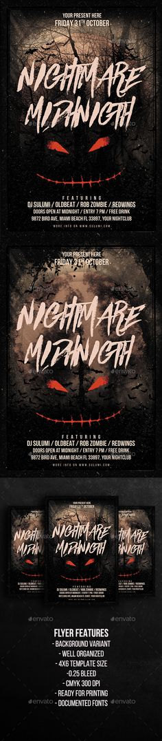 Nightmare Midnight Party Flyer Template  — PSD Template #night #bat • Download ➝ https://graphicriver.net/item/nightmare-midnight-party-flyer-template/18041419?ref=pxcr