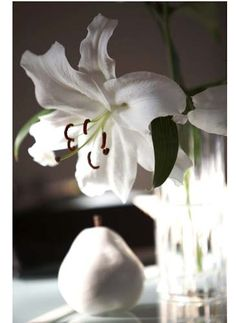 White lilly w/white pear