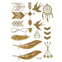 Aztec Boho Feathers Metallic Gold Silver Jewelry Temporary Tattoo