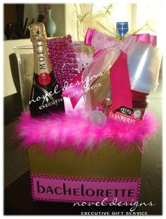 Custom Bachlorette Gift Basket w/Feather Boa, Party Beads, Sashes, Shot Glass Necklace, Card Game, Champage, Vodka & Cranberry Juice. #Event #GiftBaskets #LasVegas
