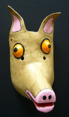 Paper mache pig mask - from homepage: Lots of Neat Stuff (James, 2015)