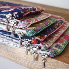 Pretty Zippy Pouches in Two Sizes with Faux Piping