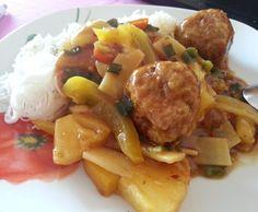 Rezept Hackbällchen mit Ananas-Ingwer-Sauce & China Gemüse von la_cocinera - Rezept der Kategorie Hauptgerichte mit Fleisch