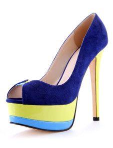Zapatos Peep toe de color azul con plataforma