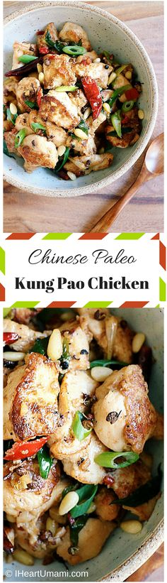 Chinese Kung Pao Chicken ! A healthier and lighter way to enjoy Kung Pao chicken without the junk ! Delicious juicy savory chicken with pine nuts, Sichuan chili peppers. Perfect for easy weeknight meal. Paleo, Whole30, Keto, family friendly !