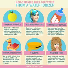 Non-Drinking Uses for Water from a Water Ionizer | Visit our website: http://www.alkalux.com