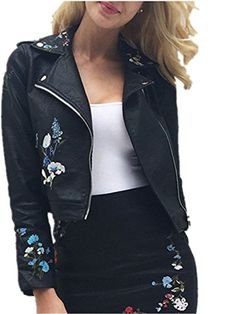 c29bf6b51c62f3 Glamaker Women s Embroidery Moto Short Faux Leather Jacket Slim Floral Jackets  Coat with Long Sleeves