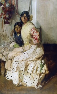 Pepilla the Gypsy and Her Daughter - 1910 by Joaquin Sorolla (spanish painter) Spanish Painters, Spanish Art, Art Painting, Spanish Artists, Painting, Art, Art History, Portrait Art, Love Art