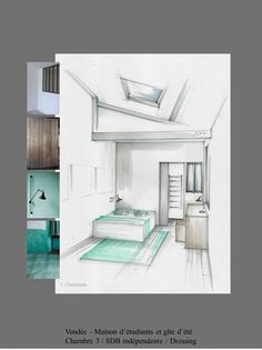 Home Decoration With Paper Craft Referral: 1269321239 Drawing Interior, Interior Rendering, Interior Sketch, Diy Interior, Interior Barn Doors, Interior Design, Plans Architecture, Architecture Design, Home Staging