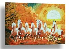 White Horses and Sunset Background - Wall Art - Picture - Print c112