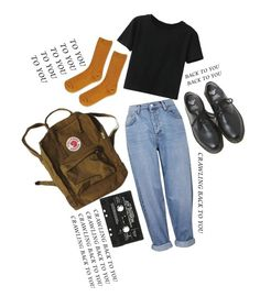 """She's lost control, Joy Division."" by screamolullabies ❤ liked on Polyvore featuring Topshop, WithChic and Dr. Martens"