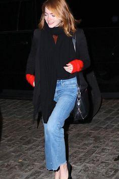 Emma Stone wearing Rag & Bone Bradbury Small Flap Hobo Bag in Black