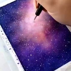 Painting Watercolor - Galaxy Painting - Step By Step Acrylic Painting Tutorial Galaxy Painting Acrylic, Watercolor Galaxy, Acrylic Painting Tutorials, Watercolor Art, Watercolor Background, Art Galaxie, Galaxy Drawings, Watercolor Paintings For Beginners, Space Painting