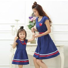 Mother Daughter Dresses with Belt and Necklace Family Clothing Mom Daughter Dress 2017 Summer style Girls Women Cotton Dresses Stylish Outfits, Fashion Outfits, Fashion Ideas, Fashion 2017, Dress Fashion, Girls Season, Look Girl, Dresses Kids Girl, Mom Daughter