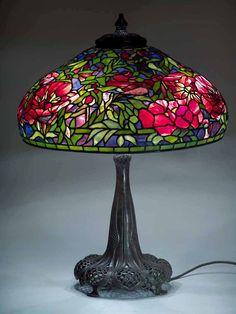 """22"""" Elaborate Peony Tiffany lamp"""