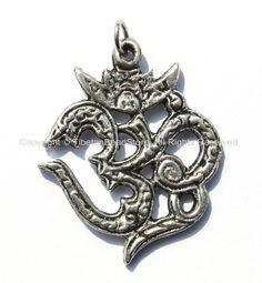 Sanskrit OM Tibetan Pendant - Handcrafted Tibetan Silver Om Aum Ohm Mantra Charm Pendant - Tibetan Meditation Yoga Jewelry - WM4969