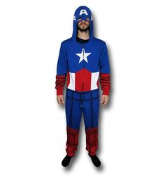 Oh wow, Freedom never looked so good and warm with the 60% cotton 40% polyester Captain America Adult Union Suit! It almost makes me wanna write a new Constitution that certifies a brand new set of inalienable rights, like not having to register your super powers or making sure that Tony Stark is only allowed one snarky comment a day. Made to appear as the First Avenger, the Captain America Adult Union Suit will make you look good and feel good...like you just beat Iron Man and surrender ...