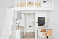 "Tiny Swedish Studio (193 ft2 = 18 m2) I would love to have a ""pied a terre"" like this studio in Paris, New York or another vibrant city full of art and other inspiration. I would change the stairs (too steep for me)."