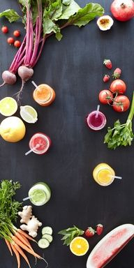 Five juices guaranteed to put a spring back in your step: Purple Passion, Green Dream, Orange Sensation, Mellow Yellow & Pink Pizazz. #juicing #spring