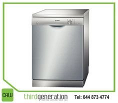 The #Bosch stainless steel dishwasher, available from #ThirdGenerationCAW combines quietness, value and features to use less water and less energy but with increased performance.