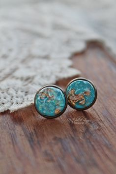 Gold Leaf Studs, Blue Stud Earrings, Gold Speckled Earrings, Stud Earrings, Shimmery Earrings, Globe Earrings, Travel Jewelry, Ocean by nathalielynndesigns on Etsy https://www.etsy.com/listing/541199776/gold-leaf-studs-blue-stud-earrings-gold