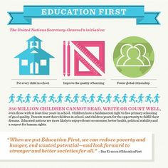 UN Education First – United Nations Secretary General's Global Initiative on Education - Education First infographics