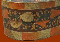 Antique Paint Decorated Bride's Box or Spanschachteln                      Spaanaeske