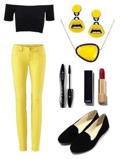 """""""Yellow in the city"""" by sheikha-n-alzaabi on Polyvore featuring American Apparel, Christina Debs, Yazbukey, Lancôme, Chanel, women's clothing, women, female, woman and misses"""
