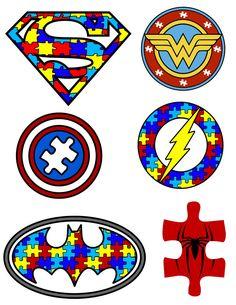 Autism Awareness - Puzzle Pieces - Superhero Logos - svg files by MamasControlledChaos on Etsy https://www.etsy.com/listing/520941735/autism-awareness-puzzle-pieces-superhero