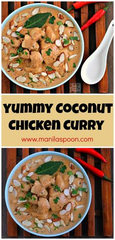 Simmered in a deliciously spiced creamy coconut sauce and then topped with almonds, this chicken curry is always a hit! Quick and easy to make as well. #coconut #chicken #curry