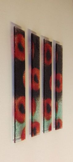 POPPIES STUNNING PIECE OF FUSED GLASS WALL ART