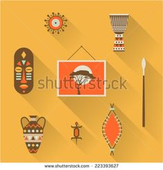 Vector illustration icon set of Africa: mask, decoration, drum, picture, vase, lizard, shield, spear - stock vector