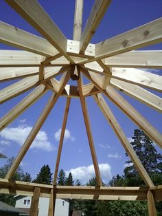 Beginning the roof framing for an octagon shaped gazebo we're building.