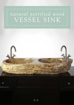 Petrified wood sink from petrified teak 5 natural stone sinks - Teak Glass Sink And Double Vanity On Pinterest
