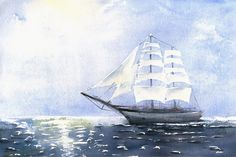 "Original Marine Watercolor Painting ""Sunny Day - Tall Ship"" Aquarelle Waterscape Watercolour"