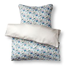 Liberty of London fabric, baby bedding and junior bed set, Queue for the Zoo D, blue, products. We ship everywhere.