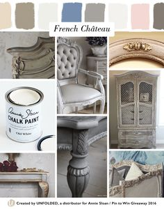 French Château Style Moodboard | Left top: Chateau Grey Chalk Paint® by Stylish Patina, L middle: Old White Chalk Paint®, L bottom: Paloma Chalk Paint® by Painted Love, Center top: Paris Grey Chalk Paint® by Lilyfieldlife, Center bottom: Paris Grey + Graphite Chalk Paint® by Maison Decor, Right top: Antoinette Chalk Paint® by Savvy Southern Style, R middle: Chateau Grey + Old White Chalk Paint® by From My Front Porch To Yours, R bottom: Paris Grey + Old White Chalk Paint® by Trois Petites…