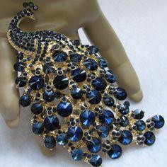 Spectacular Swarovski Crystal Peacock Pin w/ Cobalt Stones