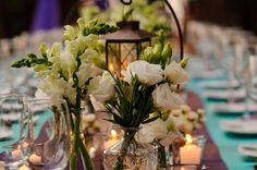 white flowers with lanterns. photo by theminnericks.com