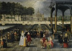 Louis de Caullery | lot | Sotheby's Louis de Caullery (1582-1621) Elegant in the park of a classic palace Olio su pannello, 56 x 77 cm Coll.privata