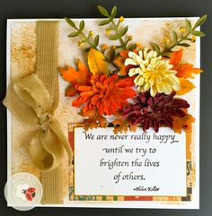Susan Tierney-Cockburn of Susan's Garden Club has created a lovely autumn card with her Garden Notes - Chrysanthemums and Els van de Burgt Studio - Leaf & Berry Branches. She's added a stamp from her Seeds of Thought collection - 'We are never really happy until'. Use her Tool Set, Molding Pad, and Leaf Pad to create the Chrysanthemums. Find the supplies here: http://www.elizabethcraftdesigns.com/
