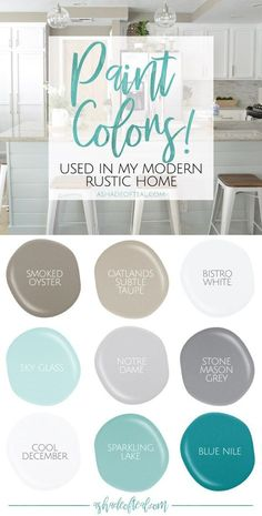 Colors used in my Modern Rustic Home! Paint Colors used in my Modern Rustic Home! Find out what paint colors I love and use in my home.Paint Colors used in my Modern Rustic Home! Find out what paint colors I love and use in my home. Rustic Paint Colors, Farmhouse Paint Colors, Farmhouse Decor, Rustic Color Schemes, Beachy Paint Colors, Modern Paint Colors, Rustic Painting, Ocean Blue Paint Colors, Rustic Home Decorating