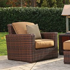 Thos. Baker Hampton Java Wicker Cushion Outdoor Club Chair